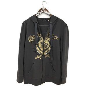 Seven 7 | Gray Zip Up Royal Zip Up Sweater w/ Hood